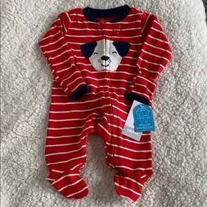 🆕 Carter's NB Baby Red Striped Dog Sleeper NWT